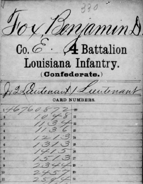 Benjamin Duncan Fox Civil War payroll records.