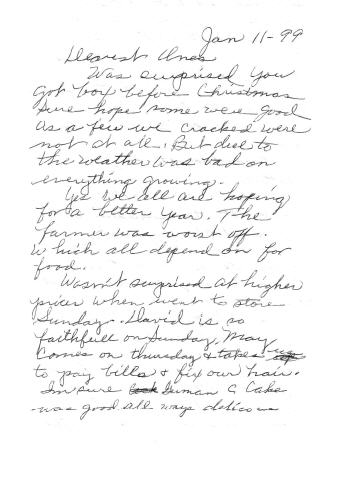 <I>Tomkins:</I> Letter written by Letha Elizabeth (May) Tomkins in Natchez, Mississippi, to Robert Dale Stewart in Naperville, Illinois, January 11, 1999
