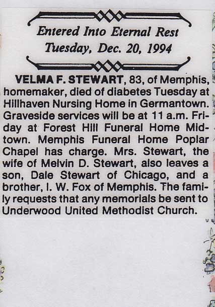 <I>Fox</I>: Velma May Fox Stewart obituary.